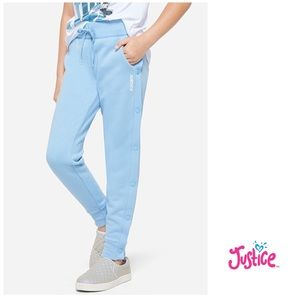 NWT Justice Blue Side Snap Joggers 10